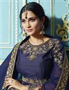photo of Designer Georgette Navy Blue Embellished Long Anarkali Dress
