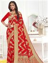 image of Weaving Work On Red Banarasi Silk Designer Saree With Blouse