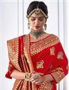 photo of Banarasi Silk Red Party Wear Saree With Weaving Designs