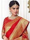 photo of Weaving Designs On Banarasi Silk Red Party Wear Saree With Blouse