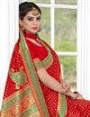 photo of Red Party Wear Saree In Banarasi Silk With Weaving Designs