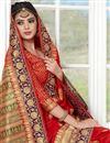 photo of Weaving Work On Banarasi Silk Red Designer Saree With Blouse