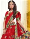 photo of Red Banarasi Silk Designer Saree With Weaving Work And Blouse