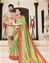 image of Function Wear Art Silk Sea Green Weaving Work Saree With Embroidered Blouse