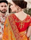 photo of Function Wear Art Silk Weaving Work Saree In Mustard With Embelllished Blouse