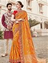 image of Function Wear Art Silk Weaving Work Saree In Mustard With Embelllished Blouse