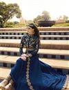 photo of Blue Color Long Length Anarkali Salwar Suit With Diamond Work In Georgette Fabric