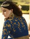 picture of Blue Color Long Length Anarkali Salwar Suit With Diamond Work In Georgette Fabric