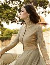 photo of Embroidered Beige Color Long Length Net And Georgette Fabric Designer Salwar Suit