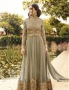 image of Beige Color Designer Salwar Suit In Net And Georgette Fabric With Diamond Work