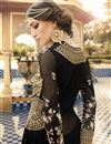 picture of Long Length Georgette Fabric Anarkali Salwar Suit With Embroidery In Black Color