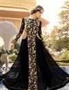 image of Long Length Georgette Fabric Anarkali Salwar Suit With Embroidery In Black Color