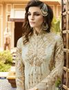 photo of Designer Cream Color Salwar Suit With Diamond Work In Georgette Fabric