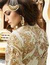 picture of Designer Cream Color Salwar Suit With Diamond Work In Georgette Fabric