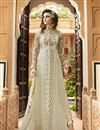 image of Designer Cream Color Salwar Suit With Diamond Work In Georgette Fabric