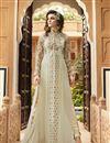 image of Designer Cream Color Salwar Suit With Diamond Work In Georgette Fabric