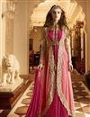 image of Designer Pink Color Anarkali Salwar Suit With Diamond Work In Georgette Fabric