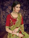 photo of Function Wear Fancy Fabric Designer Embroidered Saree In Green