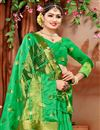 photo of Ethnic Wear Fancy Cotton Fabric Saree In Green With Weaving Work