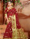 image of Fancy Maroon Ethnic Wear Cotton Fabric Saree With Weaving Work