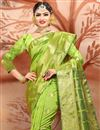 photo of Designer Cotton Fancy Green Ethnic Wear Saree With Weaving Work
