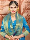photo of Ethnic Wear Designer Cotton Fabric Weaving Work Saree In Sky Blue