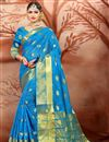 image of Ethnic Wear Designer Cotton Fabric Weaving Work Saree In Sky Blue