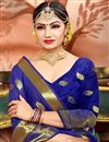 photo of Ethnic Wear Blue Fancy Saree In Cotton With Weaving Work