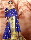 image of Ethnic Wear Blue Fancy Saree In Cotton With Weaving Work