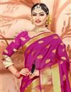 photo of Fancy Cotton Fabric Ethnic Wear Rani Color Saree With Weaving Work