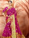 image of Fancy Cotton Fabric Ethnic Wear Rani Color Saree With Weaving Work