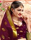 photo of Ethnic Wear Fancy Burgundy Color Saree In Cotton With Weaving Work