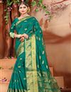 image of Fancy Cotton Fabric Ethnic Wear Teal Saree With Weaving Work