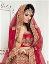 picture of Designer Bridal Wear Fancy Red Color Satin  Embellished Lehenga Choli