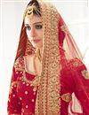 photo of Bridal Wear Fancy Red Color Satin And Velvet Designer Embroidered Lehenga Choli