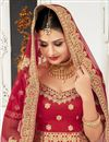 photo of Fancy Wedding Function Wear Red Color Satin And Velvet  Designer Lehenga Choli