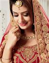 photo of Designer Bridal Wear Embroidered Red Color Satin Fancy Lehenga
