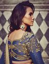 photo of Festive Wear Embroidered Jacquard And Georgette Fabric Designer Saree In Green And Blue Color