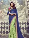 image of Green And Blue Color Festive Wear Jacquard And Georgette Fabric Designer Saree