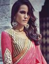 photo of Festive Wear Embroidered Jacquard And Georgette Fabric Designer Saree In Pink Color