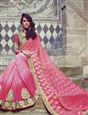 picture of Festive Wear Embroidered Jacquard And Georgette Fabric Designer Saree In Pink Color