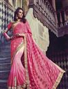 image of Festive Wear Embroidered Jacquard And Georgette Fabric Designer Saree In Pink Color