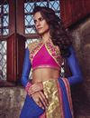 photo of Festive Wear Embroidered Jacquard And Georgette Fabric Designer Saree In Blue Color