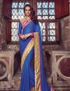 image of Festive Wear Embroidered Jacquard And Georgette Fabric Designer Saree In Blue Color
