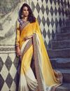 image of Yellow And Off White Color Festive Wear Designer Embroidered Saree In Jacquard And Georgette Fabric