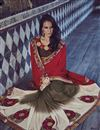 picture of Georgette And Jacquard Fabric Embroidered Designer Saree In Red And Brown Color