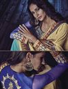 photo of Designer Beige And Sky Blue Color Jacquard And Georgette Fabric Embroidered Saree