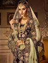 photo of Velvet Fabric Reception Wear Designer Lehenga Choli In Brown Color With Mind Blowing Embroidery Work