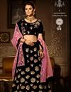 image of Black Color Bridal Lehenga Choli With Embroidery Work On Velvet Fabric