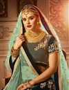 photo of Velvet Fabric Teal Color Bridal Chaniya Choli With Beautiful Embroidery Work